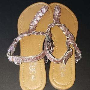 385 Fifth Glitter Braided Strap Thong Sandals